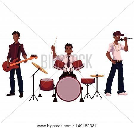Set of handsome African male singer, drummer and guitar player, cartoon vector illustration isolated on white background. Set of full height portraits of African American male musicians