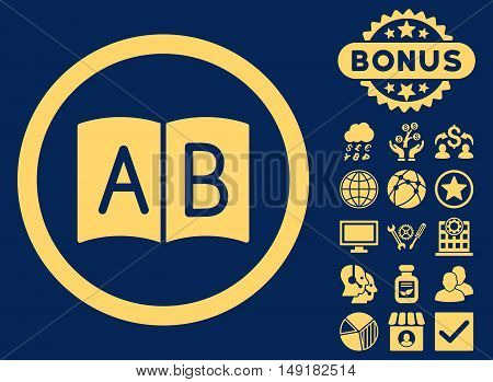 Handbook icon with bonus images. Vector illustration style is flat iconic symbols yellow color blue background.