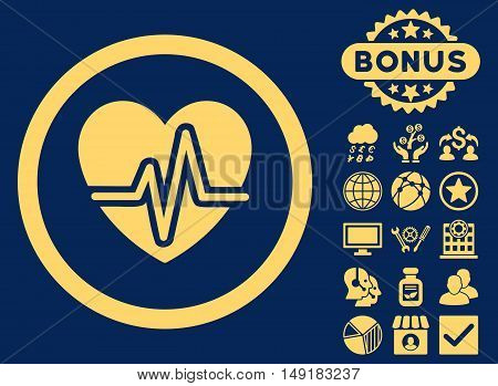 Heart Diagram icon with bonus symbols. Vector illustration style is flat iconic symbols yellow color blue background.