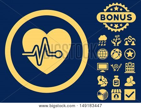 Heart Pulse icon with bonus pictogram. Vector illustration style is flat iconic symbols yellow color blue background.
