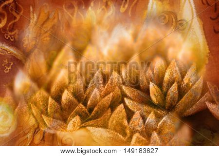 golden lotus flower petals with shimmering light, illustration.