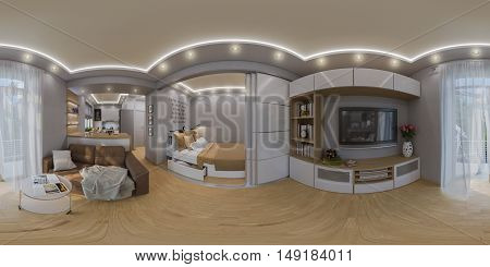 3d illustration spherical 360 degrees seamless panorama of living room and bedroom interior design. Modern studio apartment in the Scandinavian minimalist style