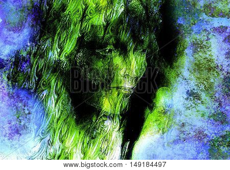 head of green woodland fairy on abstract background, illustration.