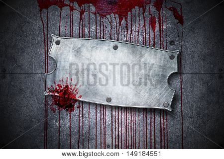 signboard on bloody metal wall with handprint for horror content and halloween festival. 3d illustration.