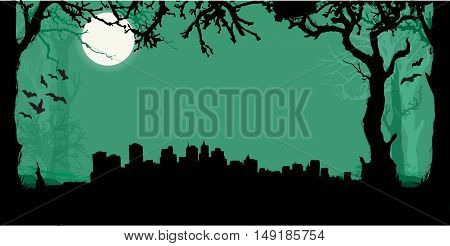 Black vector New York Silhouette Skyline with scary forest background