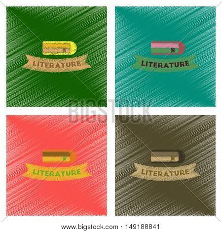 assembly flat shading style icons of Literature lesson
