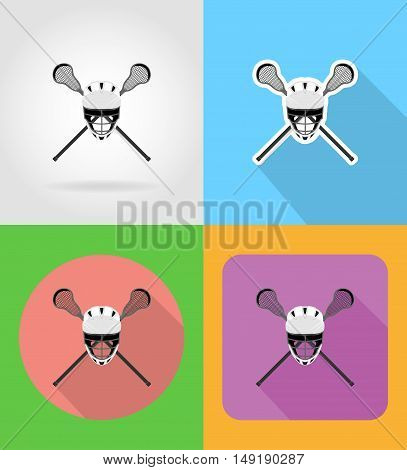 lacrosse equipment flat icons vector illustration isolated on background