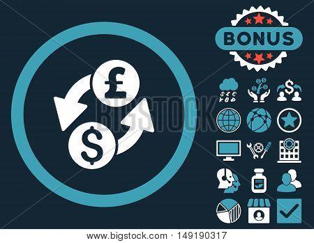 Dollar Pound Exchange icon with bonus pictogram. Vector illustration style is flat iconic bicolor symbols blue and white colors dark blue background.