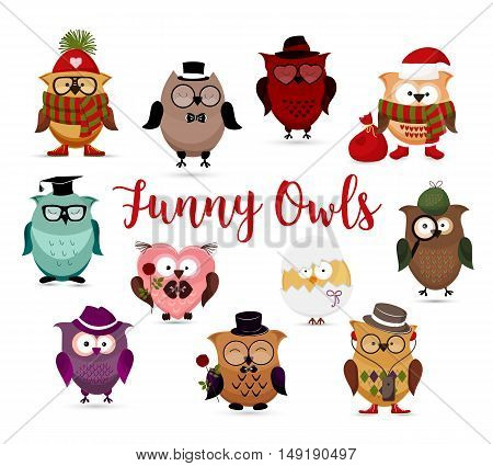 Funny owls set. Cute cartoon owls fashion costume outfits. Santa, hipster , gentleman, scientific, in love, angry and other amusing owls characters isolated on white background. Retro carton style vector illustration