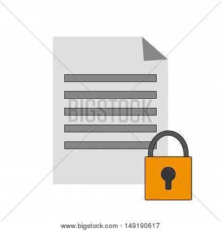 flat design paper document and safety lock icon vector illustration