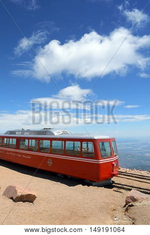 Pikes Peak, CO, USA - July 19, 2016: Manitou and Pike's Peak Railway on top of the mountain in Manitou Springs, Colorado