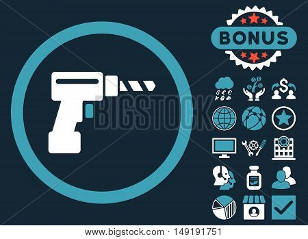 Drill icon with bonus pictogram. Vector illustration style is flat iconic bicolor symbols blue and white colors dark blue background.