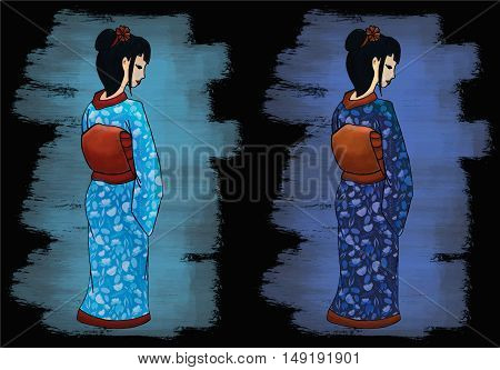 Hand drawn geisha illustration set east girl