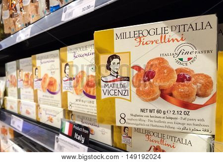 BANGKOK Thailand - September 13 2016: Box of Matilde Vicenzi Millefoglie D'Italia Puff Pastries with raspberry filling on Shelf in Supermarket MILLEFOGLIE D'ITALIA puff pastries are the symbol of Vicenzi's fine Italian pastry tradition.