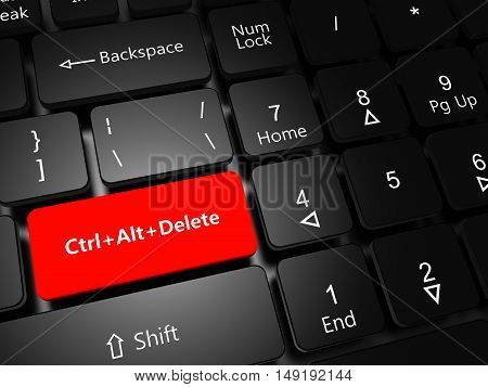 Task Manager concept. Laptop keyboard with button Ctrl Alt Delete close-up, 3D illustration.
