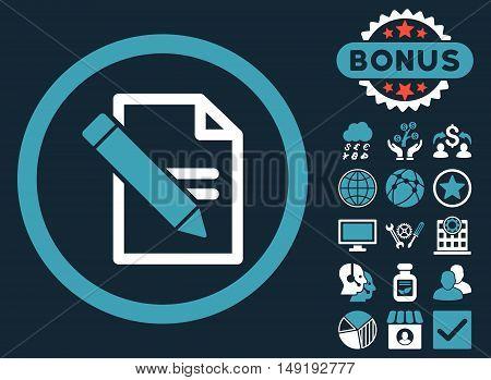 Edit Records icon with bonus symbols. Vector illustration style is flat iconic bicolor symbols blue and white colors dark blue background.