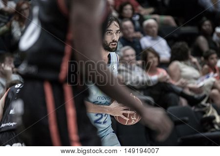 VALENCIA, SPAIN - SEPTEMBER 25th: Jordi Grimau during match between Valencia Basket and Estudiantes at Fonteta Stadium on September 25, 2016 in Valencia, Spain