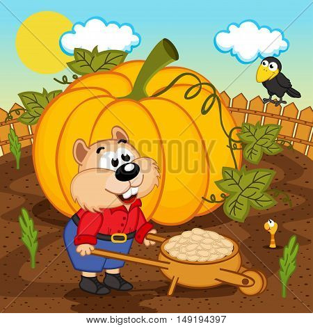hamster with pumpkin seeds - vector illustration, eps