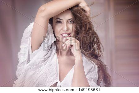 Beauty Portrait Of Natural Adult Woman.