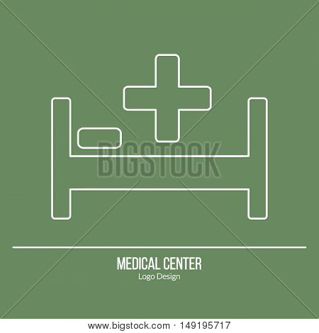 Hospital bed with a medical cross and pillow. Single logo in modern thin line style isolated on green background. Outline medical symbol. Simple mono linear pictogram. Stroke vector logotype template.
