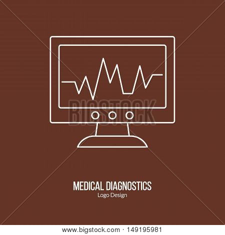 Heart rate monitor ECG equipment. Single logo in modern thin line style isolated on brown background. Outline medical symbol. Simple mono linear pictogram. Stroke vector logotype template.