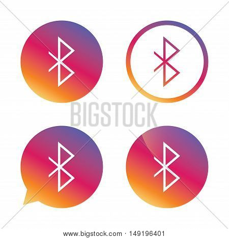 Bluetooth sign icon. Mobile network symbol. Data transfer. Gradient buttons with flat icon. Speech bubble sign. Vector