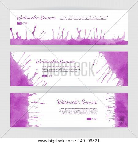 Set of hand painted watercolor horizontal banners headers. Colorful abstract pink brush stocks and splashes on a white backgrounds. Modern style graphic design template. Marketing concept.
