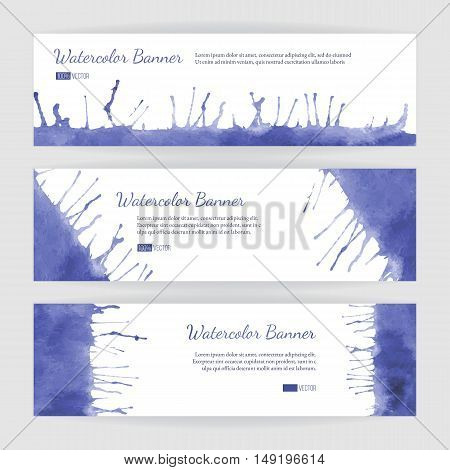 Set of hand painted watercolor horizontal banners headers. Colorful abstract blue and violet brush stocks and splashes on a white backgrounds. Modern style graphic design template. Marketing concept