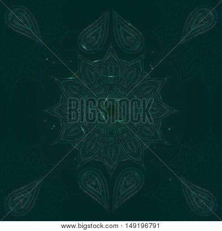 Chakra Anahata on Dark Green Background for Your Design. Vector illustration