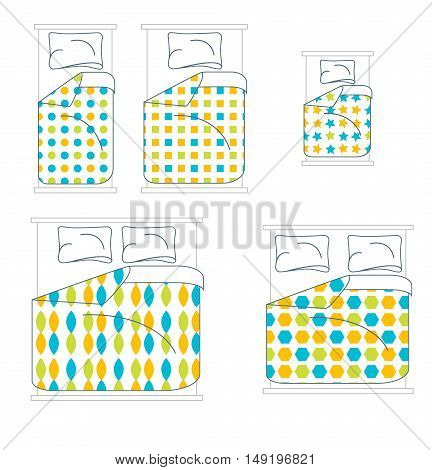 Bedding and Linen Set. Top View. Vector illustration