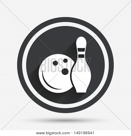 Bowling game sign icon. Ball with pin skittle symbol. Circle flat button with shadow and border. Vector