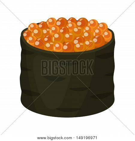 Ikura gunkan-maki icon in cartoon style isolated on white background. Sushi symbol vector illustration.