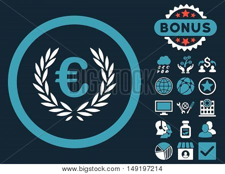 Euro Glory icon with bonus design elements. Vector illustration style is flat iconic bicolor symbols blue and white colors dark blue background.
