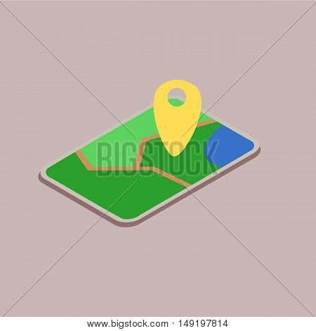 Mobile device with a map icon illustration