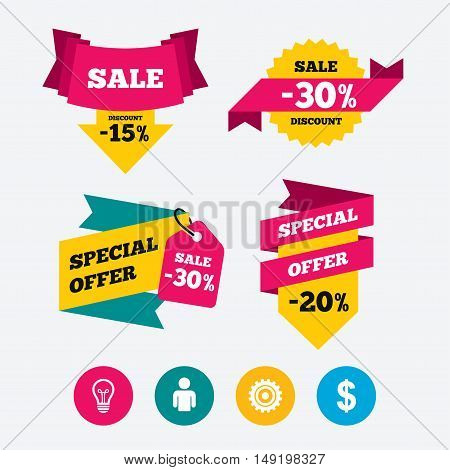Business icons. Human silhouette and lamp bulb idea signs. Dollar currency and gear symbols. Web stickers, banners and labels. Sale discount tags. Special offer signs. Vector