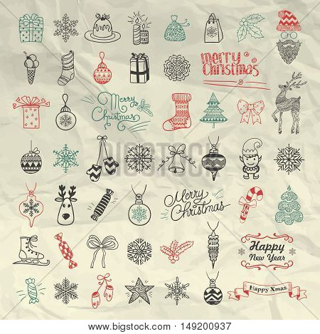 Set of Pen Drawing Artistic Christmas Doodle Icons. Xmas Vector Illustration. Outlined Sketched Decorative Design Elements, Cartoons on Crumpled Paper Texture. New Year