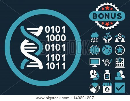 Genome Code icon with bonus symbols. Vector illustration style is flat iconic bicolor symbols blue and white colors dark blue background.