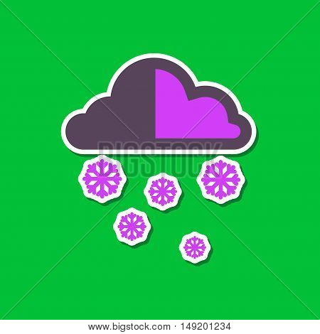 paper sticker on stylish background cloud Snow