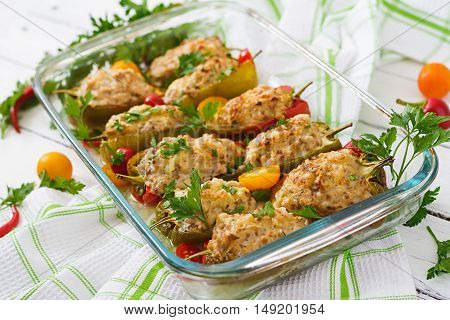 Stuffed Peppers Minced Chicken With Pepper Chilli With Tomato