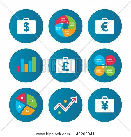 Business pie chart. Growth curve. Presentation buttons. Businessman case icons. Cash money diplomat signs. Dollar, euro and pound symbols. Data analysis. Vector
