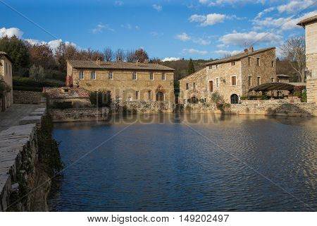 The ancient baths of Bagno Vignoni Tuscany