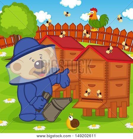 teddy bear beekeeper keeps bee smoker - vector illustration, eps