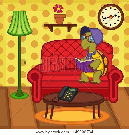 turtle reading book on couch - vector illustration, eps