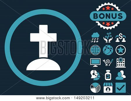 Grave icon with bonus elements. Vector illustration style is flat iconic bicolor symbols blue and white colors dark blue background.