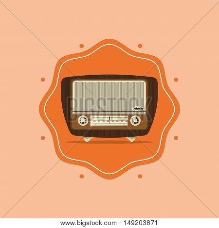 flat design retro radio image vector illustration