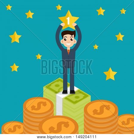 Winner Businessman character hold star vector illustration