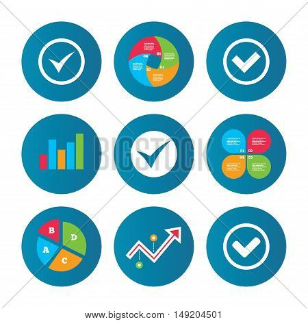 Business pie chart. Growth curve. Presentation buttons. Check icons. Checkbox confirm circle sign symbols. Data analysis. Vector
