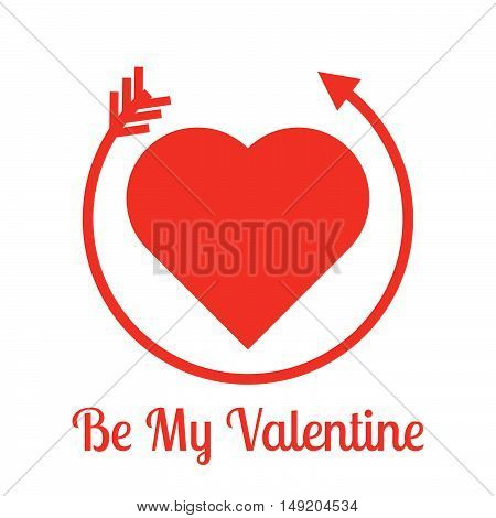 Be my Valentine lettering. Stock vector. Vector illustration.
