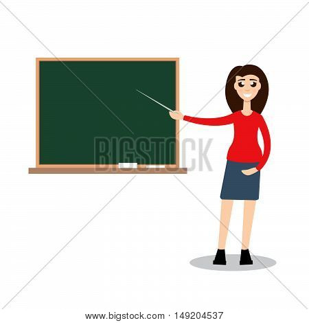 Teacher on lesson character. Stock vector. Vector illustration.