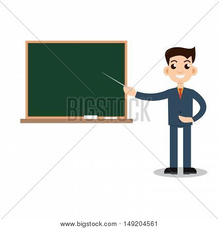 Teacher man on lesson. Stock vector. Vector illustration.